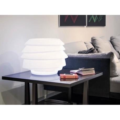 Dekoracyjna lampa/stolik SIRIO z tworzywa. MADE IN ITALY