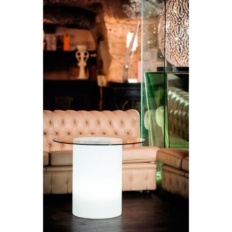 Dekoracyjna lampa stolik TUNISI średnicy 40cm i wysokości 60 cm z podświetleniem 4-12W LED